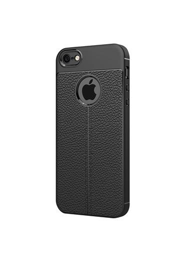 Microsonic Apple iPhone SE Kılıf Deri Dokulu Silikon Siyah Siyah